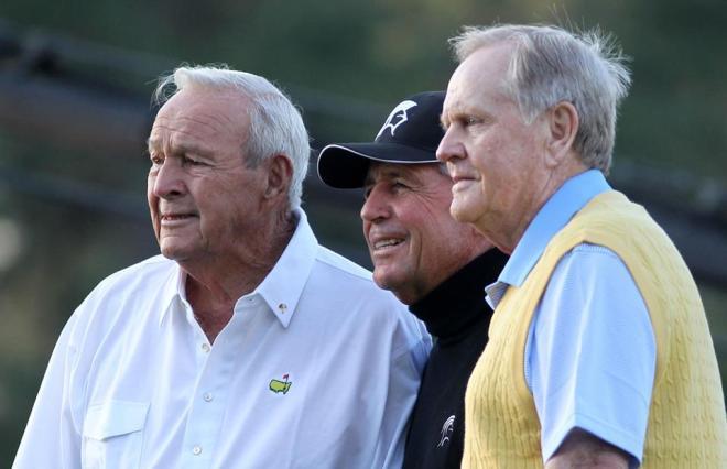 Arnold Palmer, Gary Player und Jack Nicklaus (v.l.): Golf-Großmeister als Ehrenstarter des Masters. Foto: www.masters.com