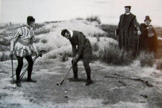 """Die Golf-Altvorderen auf den Links von St. Andrews: Elf Löcher """"out"""", elf Löcher in"""". ©: mib"""