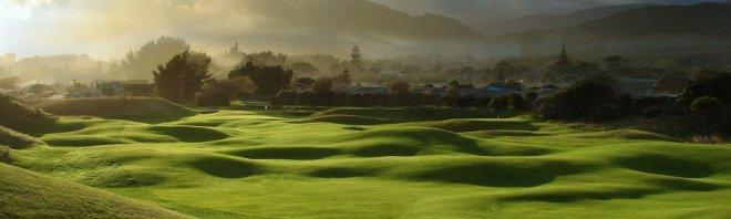 Lieblich wie das Auenland: Glaubt man Tolkien, dann haben die Hobbits Golf erfunden. Fotocredit: Paraparaumu Beach Golf Club/Neuseeland.