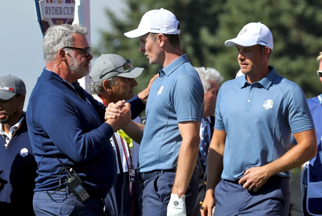 Captain Darren Clarke, players Justin Rose, Henrik Stenson