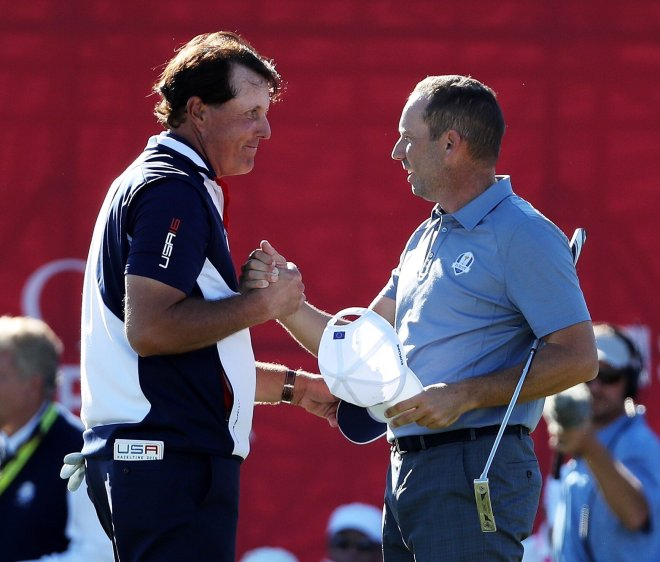 Tied an epic duel: Phil Mickelson and Sergio Garcia